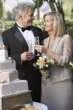 Couple Toasting Champagne Flutes. Happy couple toasting champagne flutes near wedding cake Stock Photos