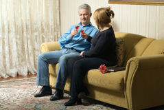 Couple Toasting Drinks - horizontal Royalty Free Stock Image