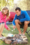 Couple Toasting Marshmallows Over Fire Camping Holiday Stock Photography