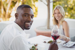 Couple toasting their wine glasses Stock Image