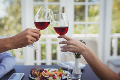 Couple toasting wine glass while having meal Stock Photography