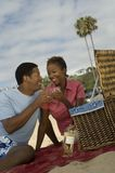 Couple Toasting Wine Glasses On Beach. African American couple enjoying their vacation by toasting wine glasses on beach stock photos