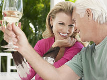 Couple Toasting Wine Glasses. Cheerful middle aged couple toasting wine glasses Stock Photos