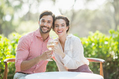 Couple toasting wine glasses while sitting in restaurant Royalty Free Stock Photography