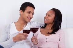Couple Toasting Wine Stock Image