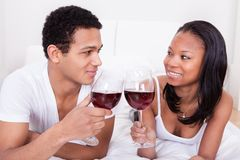 Couple Toasting Wine Royalty Free Stock Images