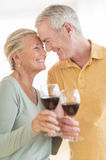 Couple Toasting Wineglasses At Home Stock Photos