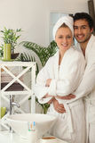 Couple together in the bathroom Royalty Free Stock Photography