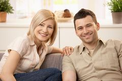 Couple together at home Stock Images
