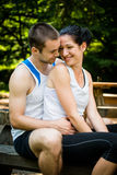 Couple together after jogging Royalty Free Stock Image