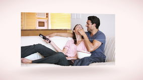Couple together in their living room Stock Photo