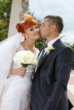 Couple together on wedding day Royalty Free Stock Photos