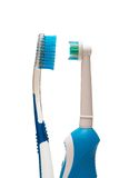 Couple of toothbruhes. Couple of toothbrushes  opposite each other Royalty Free Stock Photos