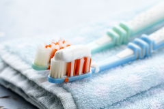 Couple Toothbrushes With Toothpaste Royalty Free Stock Image