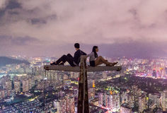 Couple on Top of the Building Royalty Free Stock Photography