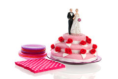 Couple on top of wedding cake Royalty Free Stock Photography