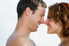 Couple touching noses Stock Images