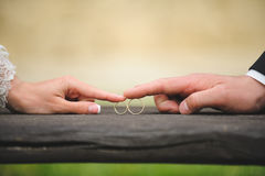 Couple Touching Rings. Bride and groom touching rings by finger Stock Photos