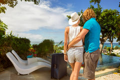 Couple tourist arrived in resort royalty free stock images