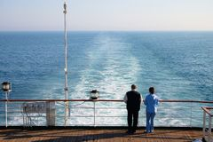 Couple of tourist on liner Stock Images