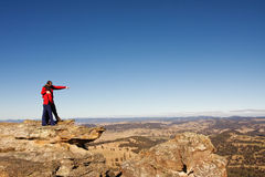 Couple of a tourists. Two travellers are enjoying the mountain lookout in Blue Mountains,NSW,Australia stock image