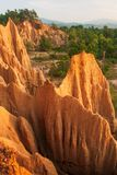 Couple tourists at ancient scenic landscape at sunset. The Sao Din Na Noi site displays picturesque scenery of eroded sandstone. Pillars, similar Canyon royalty free stock images