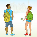Couple tourists with backpacks Stock Photos