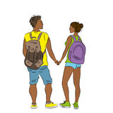 Couple of tourists with backpacks. Stock Images