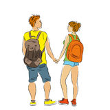Couple of tourists with backpacks. Royalty Free Stock Photography