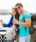 Couple tourists in a city Royalty Free Stock Image