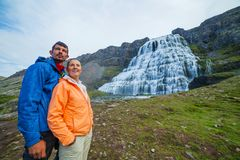 Couple of tourists and Dynjandi. Iceland Stock Images