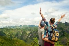 Couple of tourists making selfie on background of karst mountain Royalty Free Stock Photography