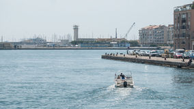 Couple of tourists on motorboat in the channel. Sete - France - 18 August 2017 - couple of tourists on motorboat in the channel stock images