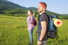 Couple of tourists on nature Stock Photos