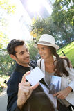 Couple of tourists with new york city pass Royalty Free Stock Image
