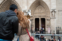 Couple of tourists in Paris Royalty Free Stock Images