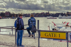 Couple of tourists in Stockholm Stock Photography