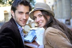 Couple of tourists in town having good time Stock Photos