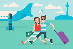 Couple tourists traveling by airplane Stock Images