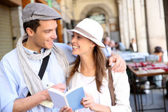 Couple of tourists traveling in Europe Stock Photos