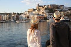 Couple of tourists travelling to ibiza Royalty Free Stock Photos