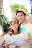 Couple of tourists visiting and discovering new places Stock Photography