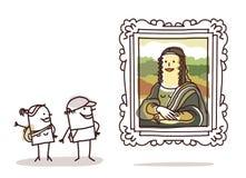 Couple of tourists watching the Mona Lisa Stock Photos