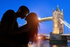 couple with tower bridge stock photo