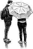 A couple of townspeople met in the rain. Vector drawing of the people talking under umbrella Stock Photography
