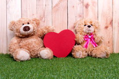 Couple toy bear with love valentine concept Stock Photo