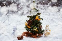 Couple of toy snowmen Royalty Free Stock Photography