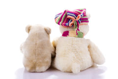 Couple of toy teddy bears from back Stock Photography
