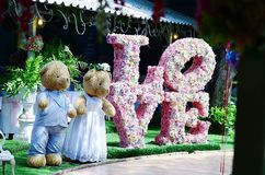 Couple toys teddy bear in dress suit decoratet wedding Royalty Free Stock Photo