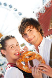 Couple in Tracht on Dult or Oktoberfest Stock Photography